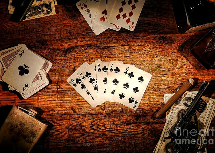 Western Greeting Card featuring the photograph Straight Flush by Olivier Le Queinec
