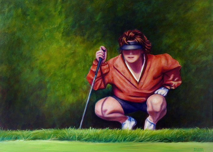 Golfer Greeting Card featuring the painting Straightshot by Shannon Grissom