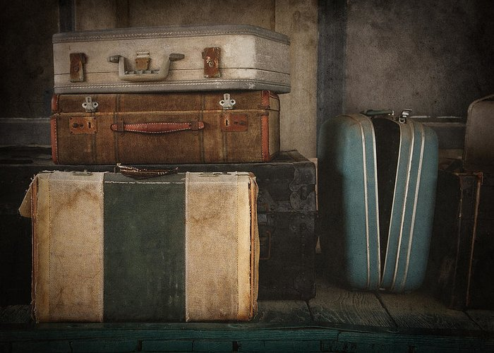 Luggage Greeting Card featuring the photograph Stranded by Amy Weiss