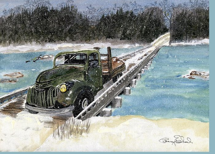 Landscape Greeting Card featuring the painting Stranded On Rockford Bridge by Penny Everhart