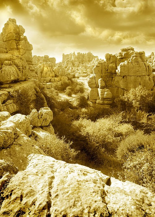 Rock Greeting Card featuring the photograph Strange Rock Formations At El Torcal Near Antequera Spain by Mal Bray