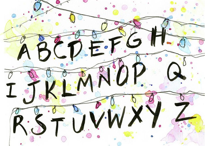 Lights Greeting Card featuring the painting Stranger Things Alphabet Wall Christmas Lights by Olga Shvartsur