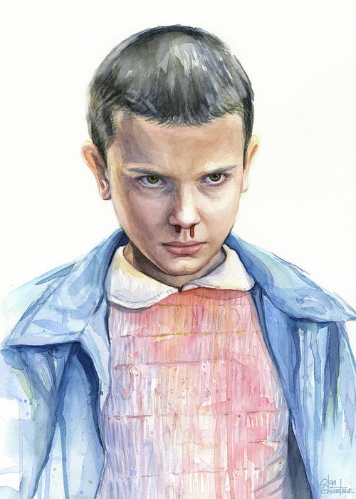 Strager Things Greeting Card featuring the painting Stranger Things Eleven Portrait by Olga Shvartsur