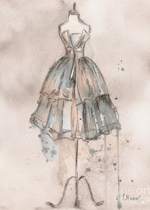 Vintage Dress Greeting Card featuring the painting Strapless Champagne Dress by Lauren Maurer