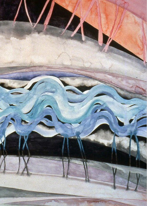 Watercolor Greeting Card featuring the painting Strata - 2 by Caron Sloan Zuger