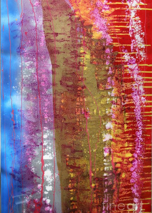 Abstract Greeting Card featuring the painting Strata by Mordecai Colodner