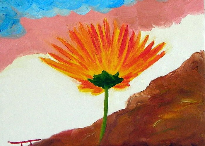 Greeting Card featuring the painting Straw Flower by Troy Thomas