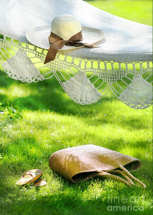 Bliss Greeting Card featuring the digital art Straw Hat With Brown Ribbon Laying On Hammock by Sandra Cunningham
