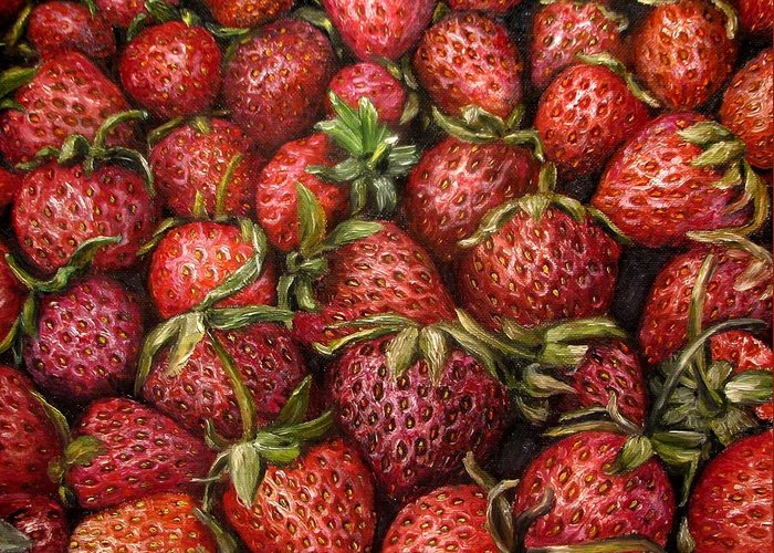 Strawberries Greeting Card featuring the painting Strawberries -2 Contemporary Oil Painting by Natalja Picugina