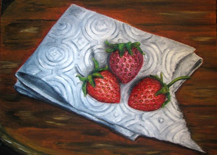 Strawberries Greeting Card featuring the painting Strawberries-3 Contemporary Oil Painting by Natalja Picugina