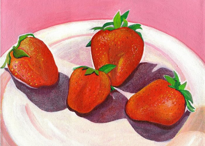 Food Greeting Card featuring the painting Strawberries and Cream by Helena Tiainen