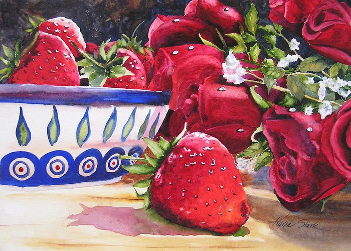 Strawberries Greeting Card featuring the painting Strawberries And Roses by Karen Stark