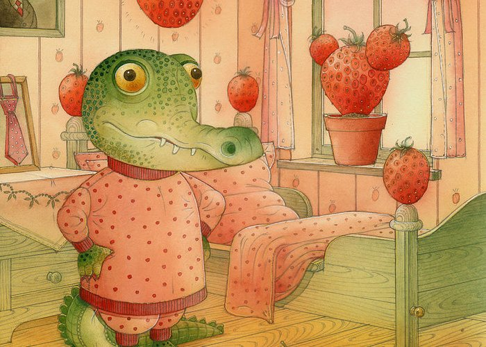 Strawberry Childrens Room Dream Greeting Card featuring the painting Strawberry Day by Kestutis Kasparavicius