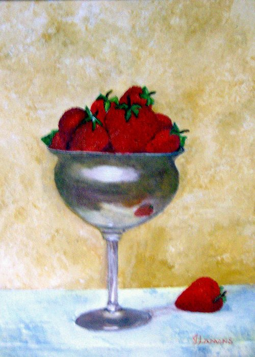 Still Life Greeting Card featuring the painting Strawberry Feast by Julie Lamons