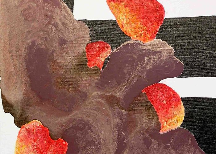 Greeting Card featuring the painting Strawberry In Chocolate by Evguenia Men