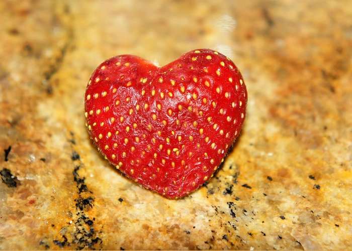 Colorful Greeting Card featuring the photograph Strawberry Love by Jaron R