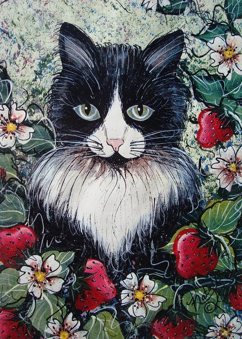 Cat Greeting Card featuring the painting Strawberry Lover Cat by Natalie Holland