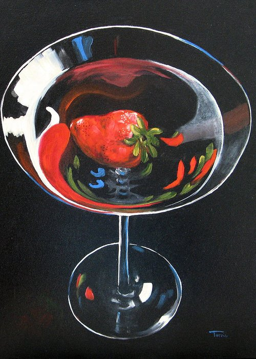 Bar Art Greeting Card featuring the painting Strawberry Martini by Torrie Smiley