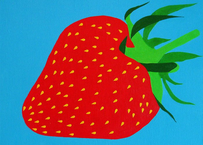 Abstract Greeting Card featuring the painting Strawberry Pop by Oliver Johnston