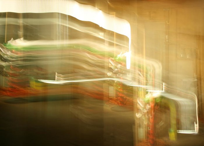 Abstract Greeting Card featuring the photograph Streak Door Lights by Joshua Sunday