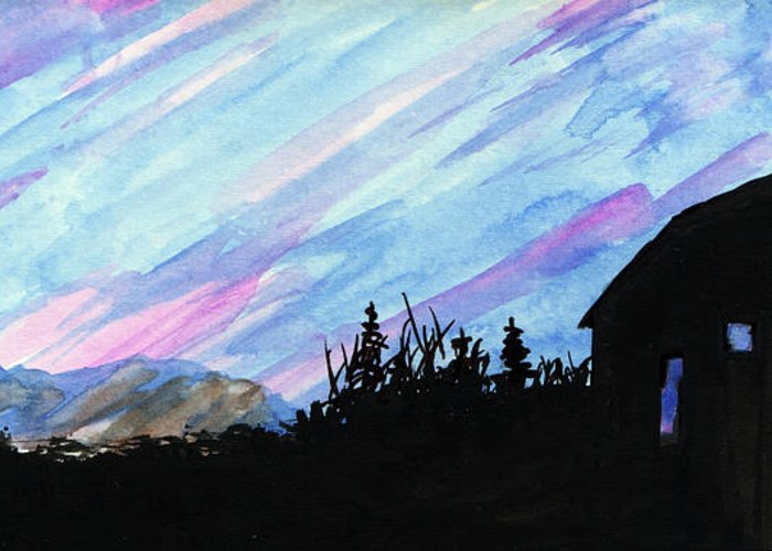 Sunset Blue Mountains Mountain Pink Streak Streaked Sky Landscape Clouds Panorama Background Peaks Color High Grand Dusk Range Purple North Evening Beauty Weather Trees Silhouette Barn Peak Outside Dramatic Dawn Colors Colorful Abstract Wispy Wind Vista Tranquility Tranquil Stormy Skyline Silhouettes Silhouetted Shadows Season Rural Refuge Pine Picturesque Peaceful Peace Panoramic Old Majestic Watercolor India Ink Layers Horizon Heaven Glowing Glow Fir Fantastic Dynamic Brown Black Atmosphere Greeting Card featuring the mixed media Streaked Sky by R Kyllo