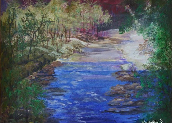 River Greeting Card featuring the painting Stream At Yosemite by Quwatha Valentine