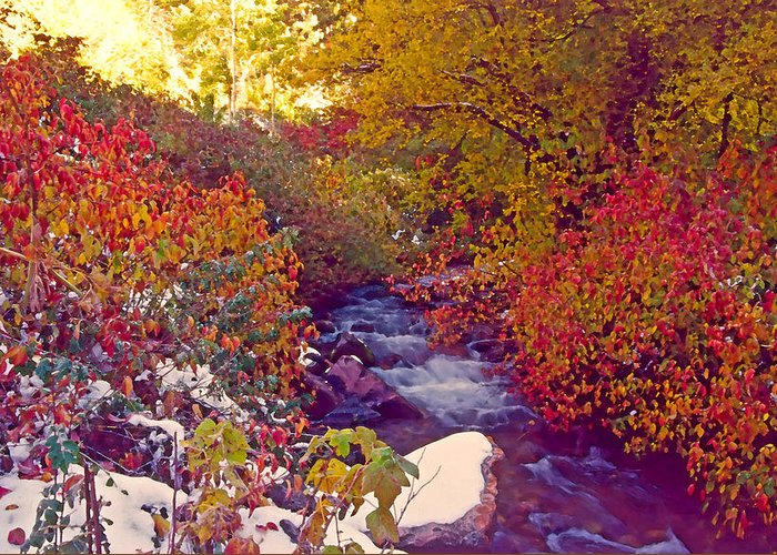 Stream Greeting Card featuring the photograph Stream In Autumn by Steve Ohlsen