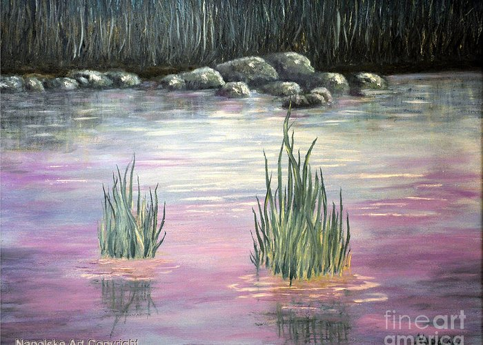 Stream Santa Fe New Mexico Greeting Card featuring the painting Stream Santa Fe Nm by Barney Napolske