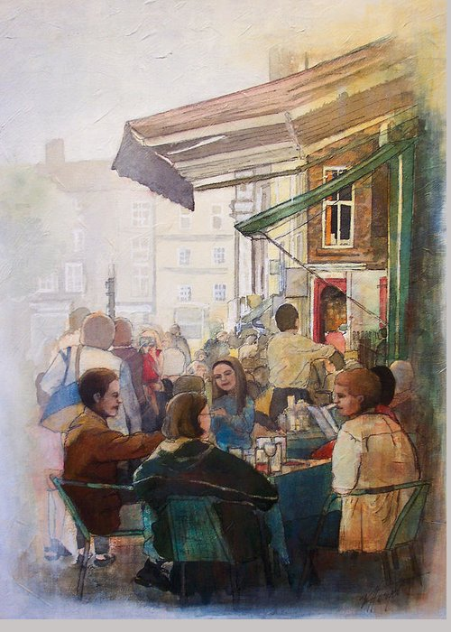 Cafe Greeting Card featuring the painting Street Cafe by Victoria Heryet