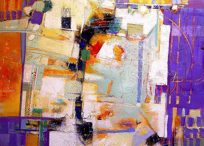 Abstract Greeting Card featuring the painting Street Fair by Dale Witherow