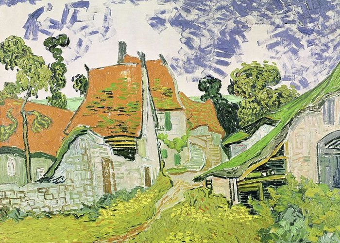 Nature Greeting Card featuring the painting Street In Auvers Sur Oise by Artistic Panda