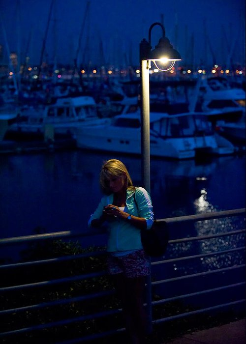 Elliott Greeting Card featuring the photograph Street Light Texting by Tom Dowd