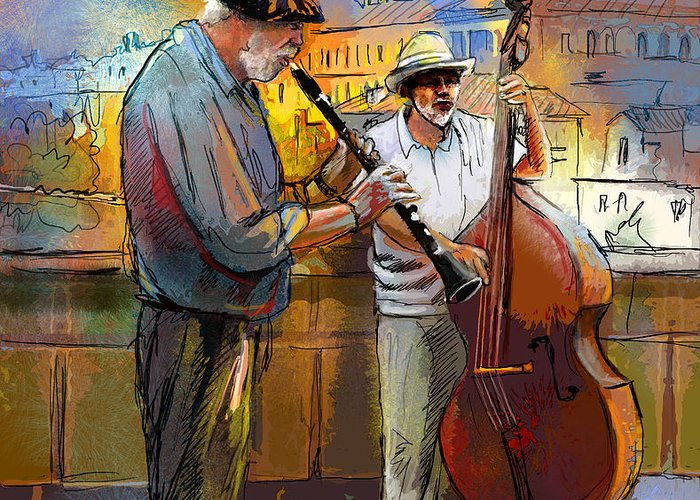 Music Greeting Card featuring the painting Street Musicians In Prague In The Czech Republic 01 by Miki De Goodaboom