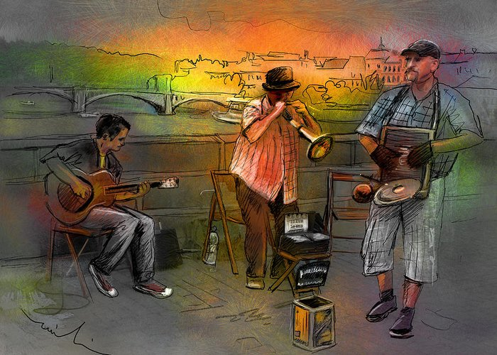 Music Greeting Card featuring the painting Street Musicians In Prague In The Czech Republic 03 by Miki De Goodaboom