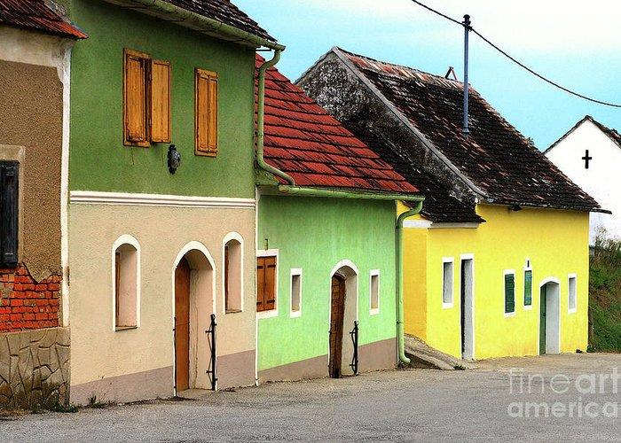 Street Of Wine Cellar Houses Greeting Card featuring the photograph Street Of Wine Cellar Houses by Mariola Bitner