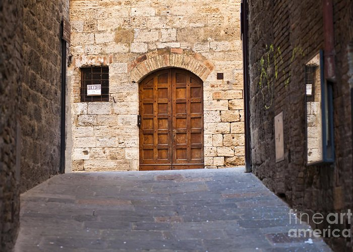 Ancient Greeting Card featuring the photograph Streets Of San Gimignano by Andre Goncalves