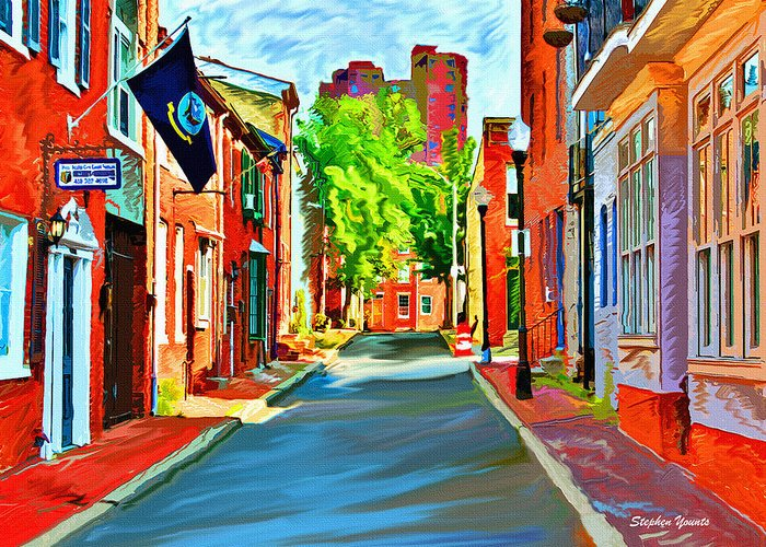Federal Hill Greeting Card featuring the digital art Streetscape In Federal Hill by Stephen Younts