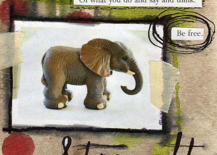 Elephant Greeting Card featuring the mixed media Strength by Linda Woods