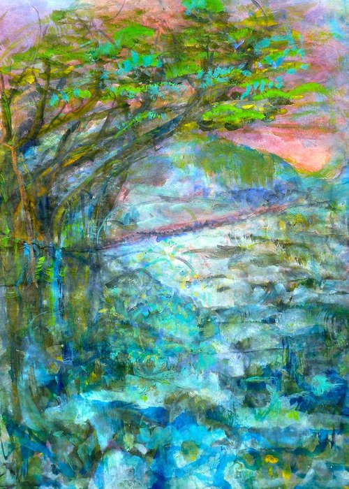 Splash Ink Watercolor Greeting Card featuring the painting Stretching Cypress by Phoenix Simpson