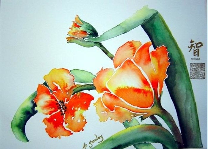 Tulips Or Poppies Greeting Card featuring the painting Stretching in the Spring Sun by Jo Smoley