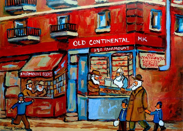 Old Continental On Fairmount Greeting Card featuring the painting Strictly Kosher by Carole Spandau