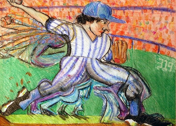 Baseball Greeting Card featuring the drawing Stride by Jame Hayes