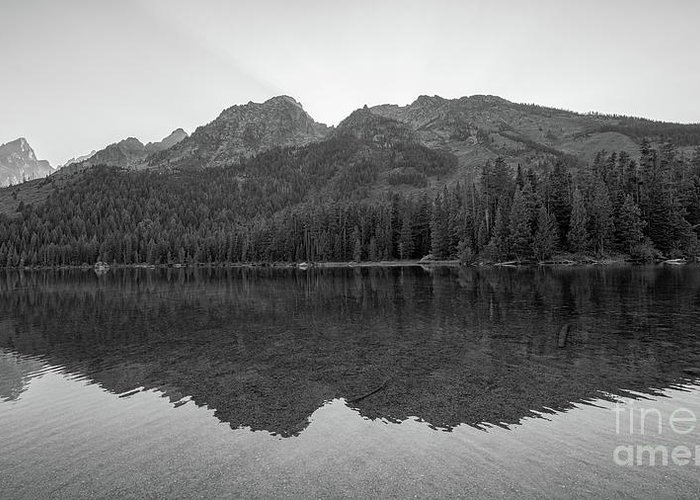 String Lake Greeting Card featuring the photograph String Lake Reflections Bw by Michael Ver Sprill
