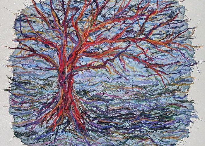 Tree Growth Textile Thread Paper Greeting Card featuring the painting String Tree - Growing By A Thread by Sally Van Driest