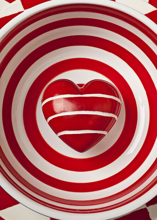 Striped Heart Greeting Card featuring the photograph Striped Heart In Bowl by Garry Gay