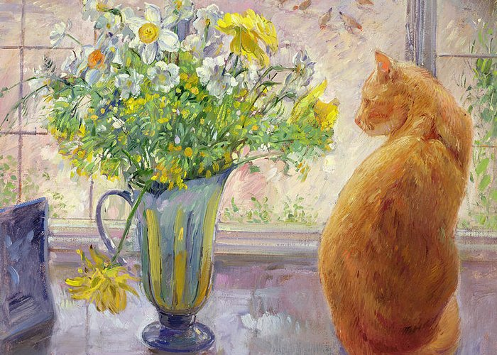 Ginger; Cat; Vase; Narcissi; Chicken; Pheasants Eye; Flower; Flowers ; Window; Open Window; Pheasant Greeting Card featuring the painting Striped Jug With Spring Flowers by Timothy Easton