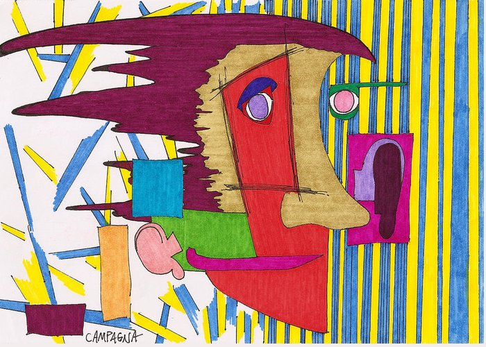 Marker Greeting Card featuring the drawing Striped Wallpaper by Teddy Campagna