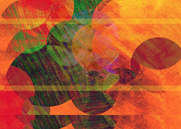 Absract Greeting Card featuring the digital art Stripes And Circles by Ann Powell