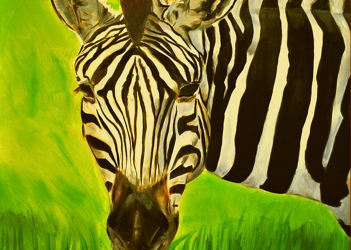 Zebra Greeting Card featuring the painting Stripes In Africa by Ruben Barbosa