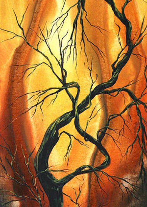 Abstract Greeting Card featuring the painting Striving To Be The Best By Madart by Megan Duncanson